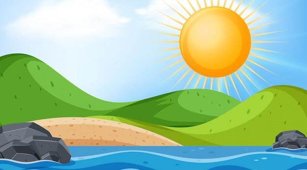 Paisagem de fundo com grande sol sobre o oceano Vetor Premium