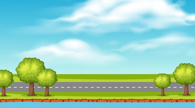 Paisagem de fundo da estrada vazia ao longo do rio Vetor Premium