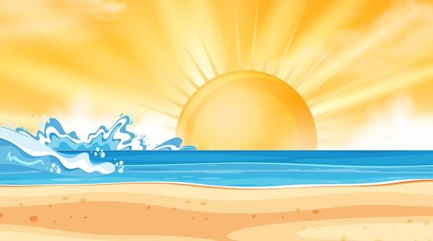 Paisagem de fundo do oceano ao pôr do sol Vetor Premium