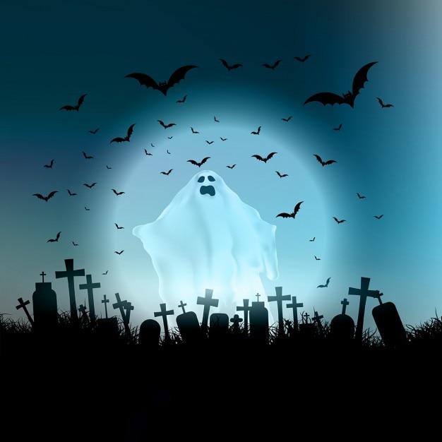 Paisagem de halloween com a figura fantasmagórica e cemitério Vetor grátis