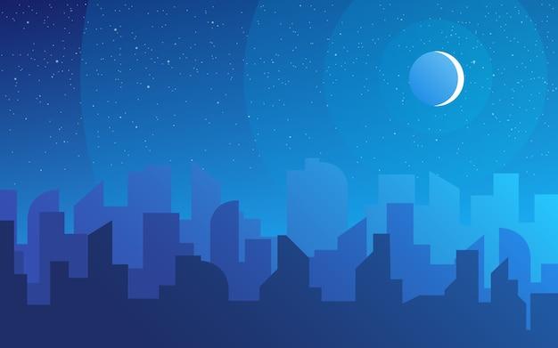 Paisagem de horizonte da cidade à noite, edifícios da cidade no céu noturno e da paisagem urbana da cidade. paisagem urbana diurna. silhueta da arquitetura do centro da cidade. Vetor Premium