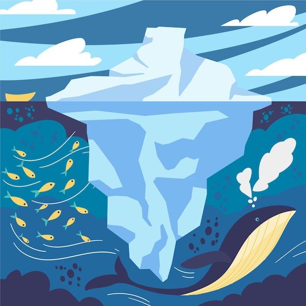 Paisagem de iceberg com peixes e baleias Vetor grátis