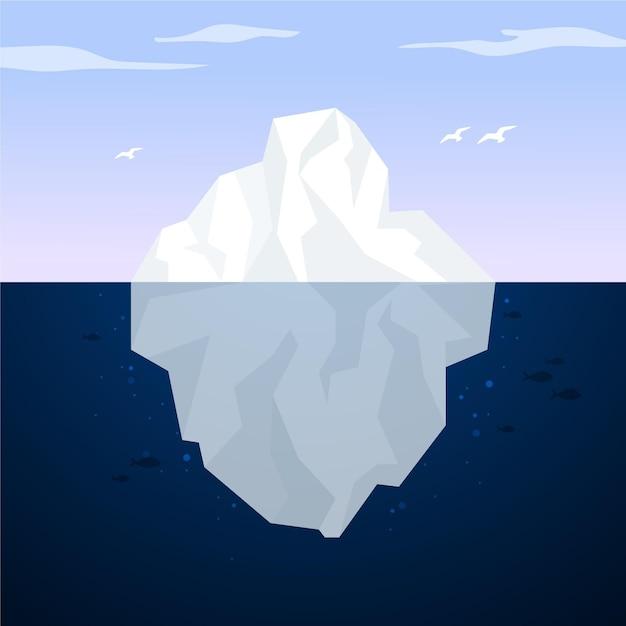Paisagem de iceberg no oceano Vetor grátis