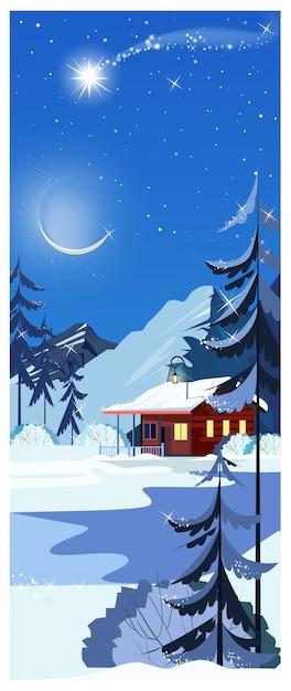 Paisagem de inverno com casa de campo, estrela cadente e pinheiros Vetor Premium