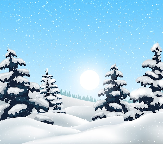 Paisagem de inverno com floresta de neve e pássaros Vetor Premium