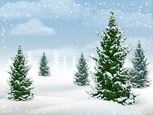 Paisagem de inverno com pinheiros. Vetor Premium