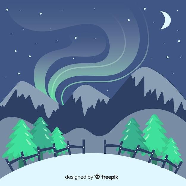 Paisagem de inverno de fumaça de montanha Vetor grátis