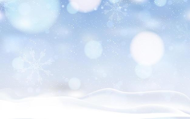 Paisagem de inverno desfocada com neve Vetor grátis