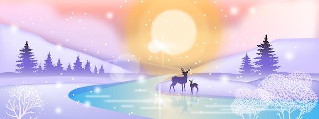 Paisagem de inverno do feriado do dia com silhueta de veado, sol do norte, rio congelado, floresta de pinheiros Vetor Premium