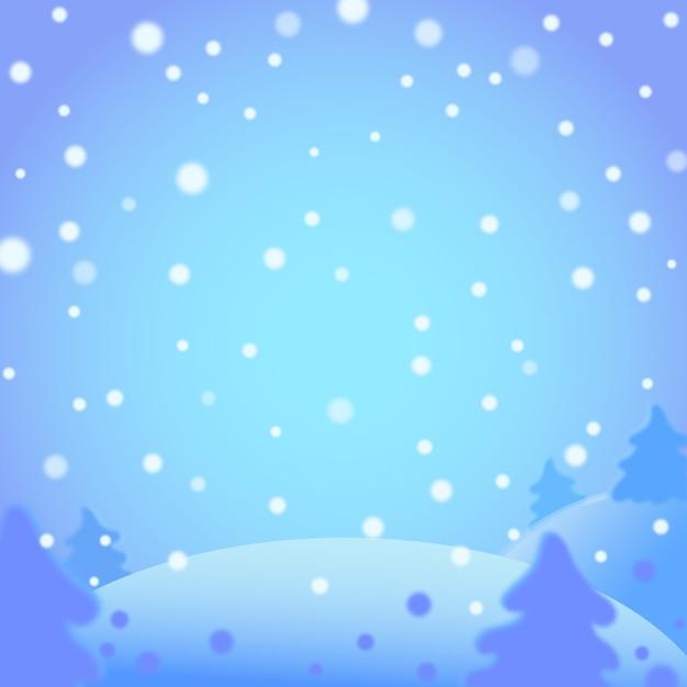 Paisagem de inverno em estilo cartoon Vetor Premium