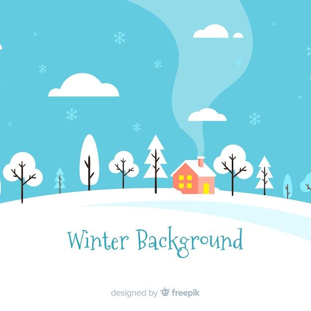 Paisagem de inverno linda com design plano Vetor grátis