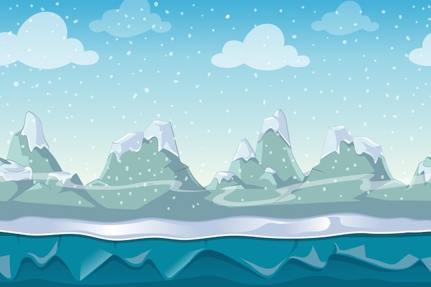 Paisagem de inverno vetor sem costura dos desenhos animados para jogo de computador. montanha de neve e céu, ilustração de ambiente externo Vetor grátis