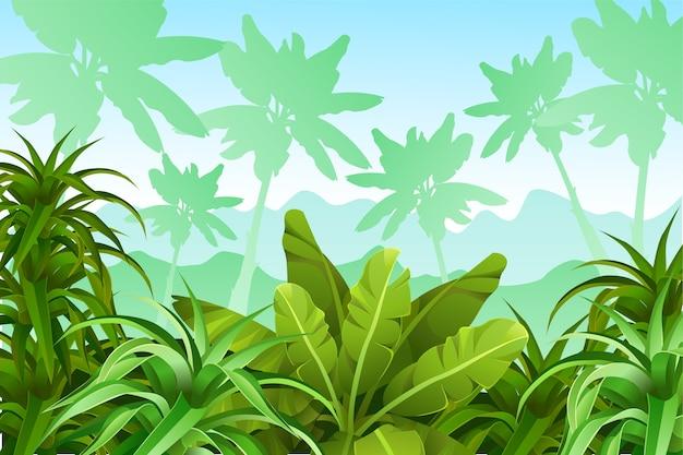 Paisagem de jogo com plantas tropicais. Vetor grátis