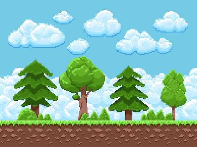 Paisagem de jogo de pixel com árvores, céu e nuvens para jogo de arcade vintage de 8 bits Vetor Premium