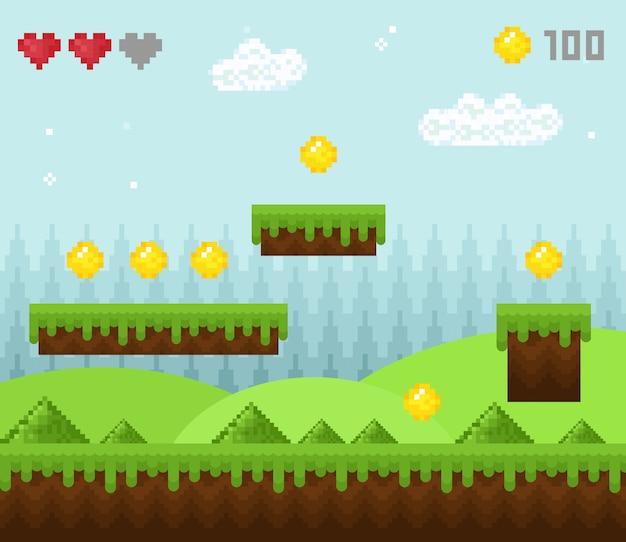 Paisagem de jogo de pixel de estilo retro, ícones de cenário de jogo pixelizada, plano de fundo de jogo antigo, design de pixel. Vetor Premium