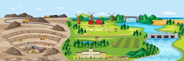 Paisagem de mina de carvão e terras agrícolas Vetor Premium