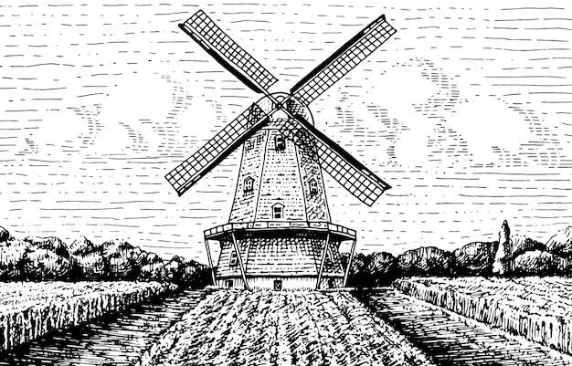 Paisagem de moinho de vento no vintage, retrô mão desenhada ou estilo gravado, pode ser usado para logotipo de padaria, campo de trigo com prédio antigo Vetor Premium
