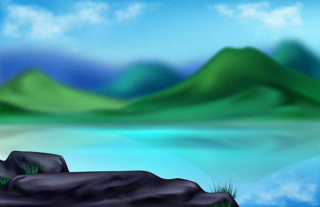 Paisagem de montanha, ilustração borrada de verão Vetor grátis