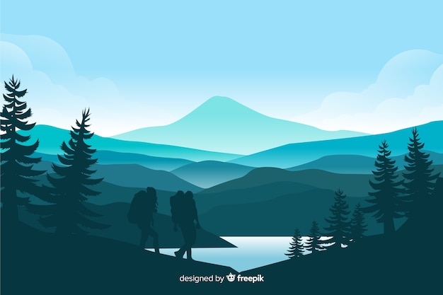 Paisagem de montanhas com pinheiros e lago Vetor Premium