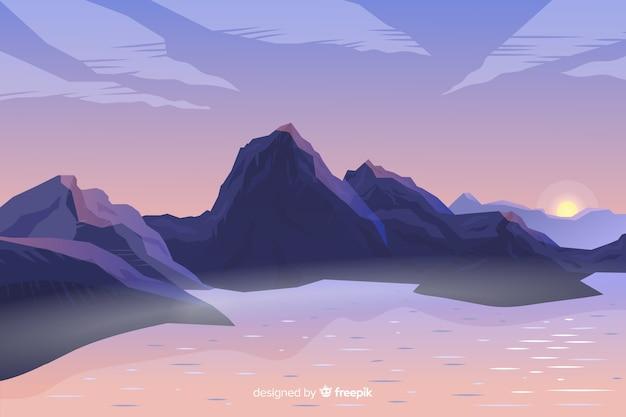 Paisagem de montanhas gradiente artística Vetor grátis