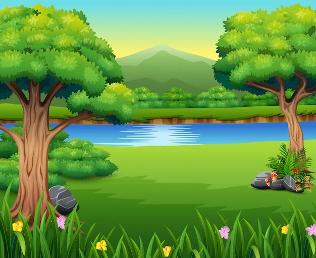 Paisagem de natureza com um belo parque e montanha Vetor Premium