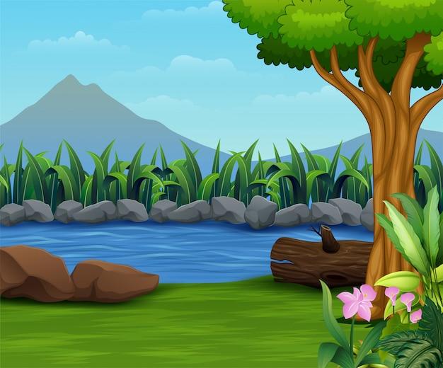 Paisagem de natureza com um rio e montanha backround Vetor Premium