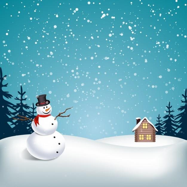 Paisagem de neve com boneco de neve Vetor grátis