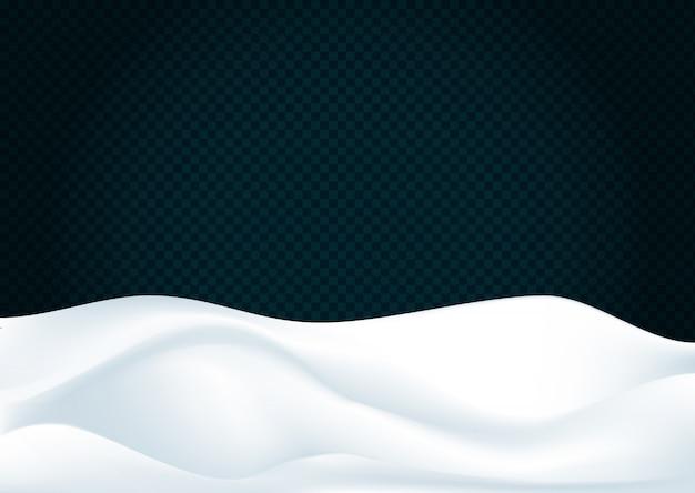 Paisagem de neve isolada no fundo transparente escuro da decoração de inverno. fundo de neve Vetor Premium