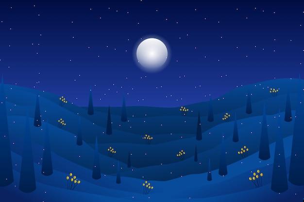Paisagem de noite com montanha com ilustração de estrelas Vetor Premium