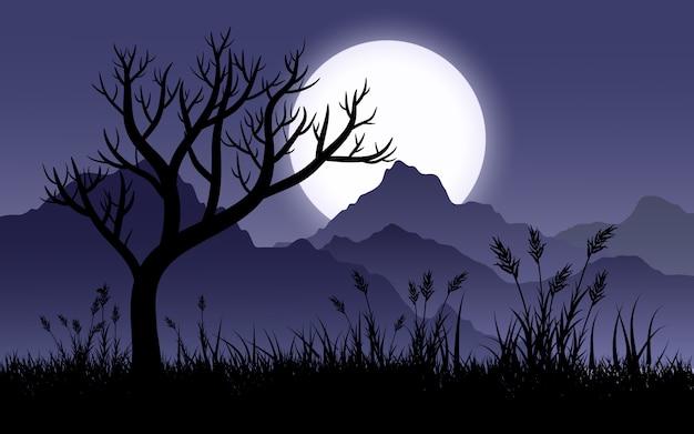 Paisagem de noite nublada com colinas, árvores, grama e lua cheia Vetor Premium