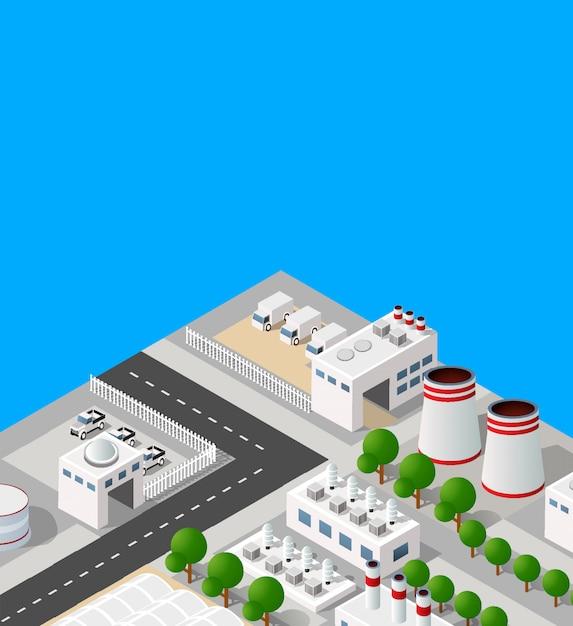 Paisagem de objetos industriais planta, fábricas, estacionamento Vetor Premium