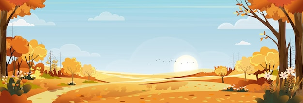 Paisagem de outono do campo agrícola com céu azul, país das maravilhas do meio do outono em zona rural com céu de nuvens e sol, montanha, grama em folhagem laranja, banner de vetor para o outono ou fundo outonal Vetor Premium