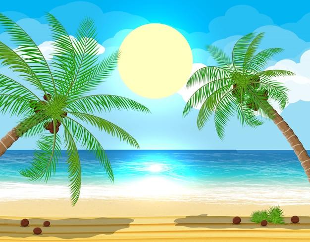 Paisagem de palmeira na praia Vetor Premium