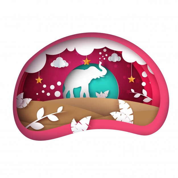 Paisagem de papel dos desenhos animados. ilustração de elefante. nuvem, folha, sol estrela vetor eps 10 Vetor Premium