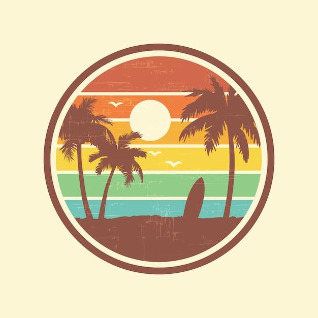 Paisagem de praia surf Vetor Premium