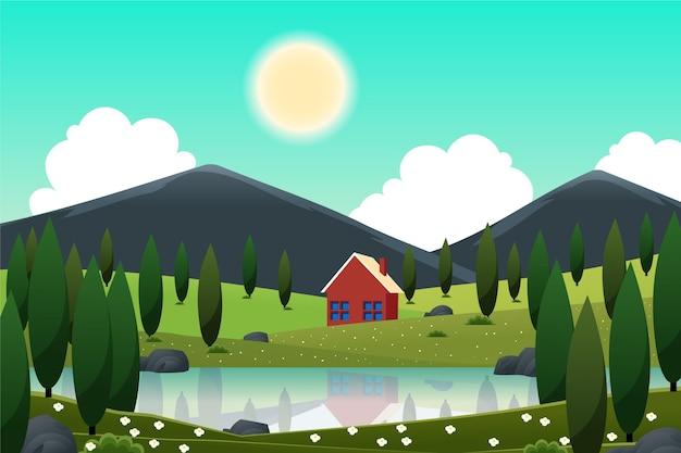 Paisagem de primavera com casa e lago Vetor grátis