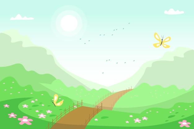 Paisagem de primavera com estrada e natureza Vetor grátis