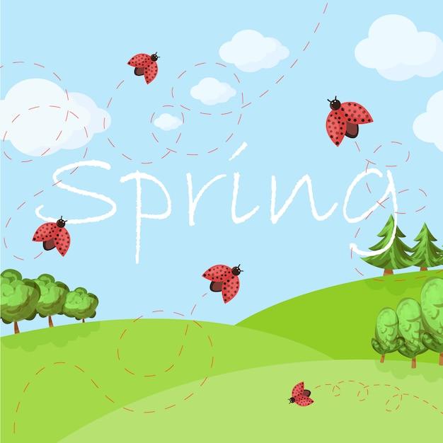 Paisagem de primavera dos desenhos animados Vetor Premium
