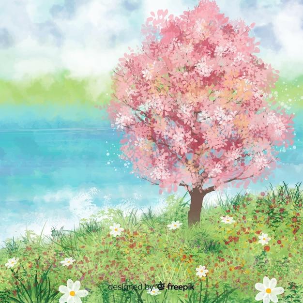Paisagem de primavera em aquarela Vetor grátis