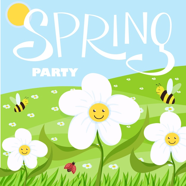 Paisagem de primavera festa dos desenhos animados com árvores e nuvens Vetor Premium