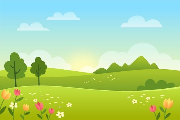 Paisagem de primavera gradiente com campo Vetor Premium