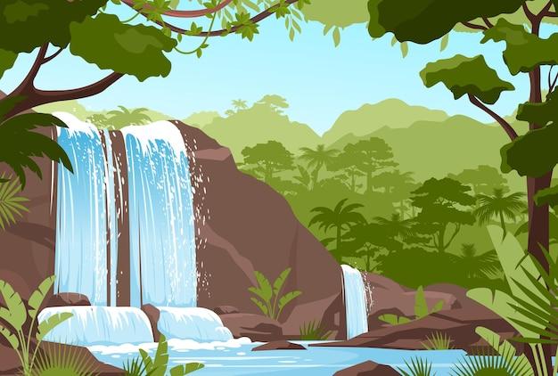 Paisagem de selva de cachoeira. cenário natural tropical com cascata de pedras e riachos Vetor Premium