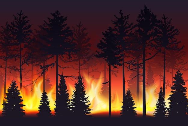 Paisagem de silhueta realista de incêndio florestal Vetor Premium