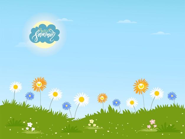 Paisagem de verão bonito dos desenhos animados com olá verão letras e flor da margarida, fundo de verão com flores silvestres em dia ensolarado Vetor Premium