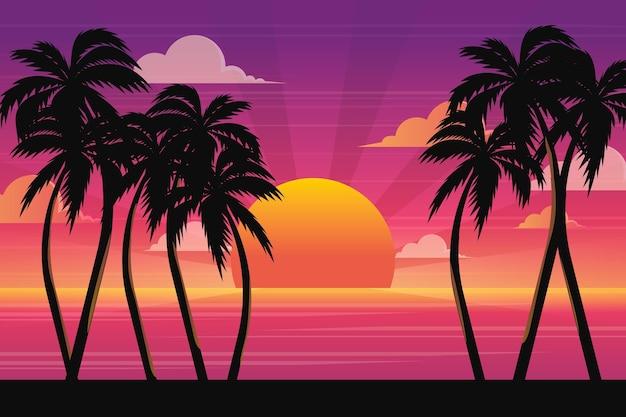 Paisagem de verão com pôr do sol Vetor Premium