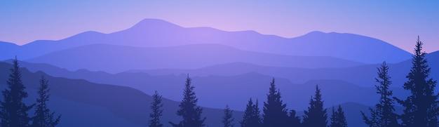 Paisagem de verão montanha floresta céu madeiras Vetor Premium