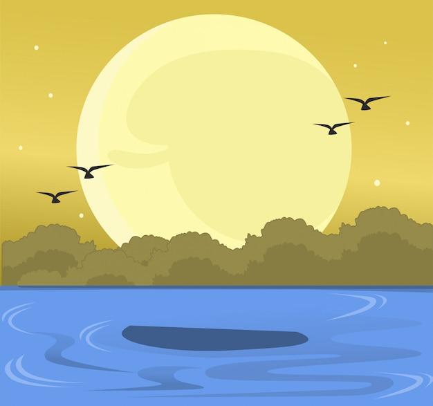 Paisagem de verão no mar, quando o sol se põe com pássaros Vetor Premium