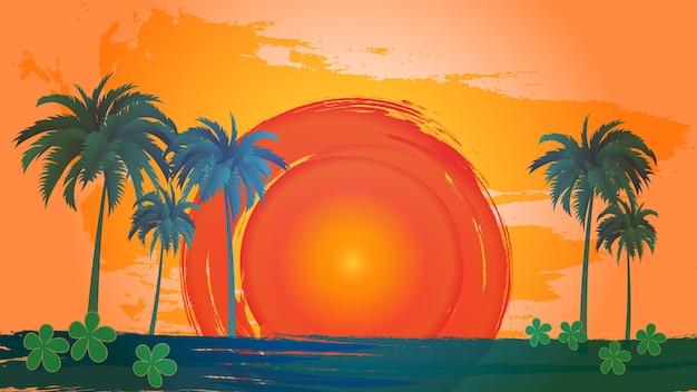 Paisagem de vetor de palmeiras sobre o céu e o sol. Vetor Premium