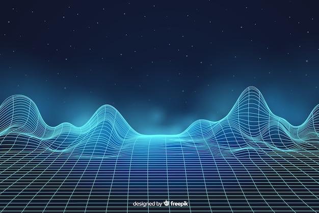 Paisagem digital abstrata com fundo de partículas Vetor grátis