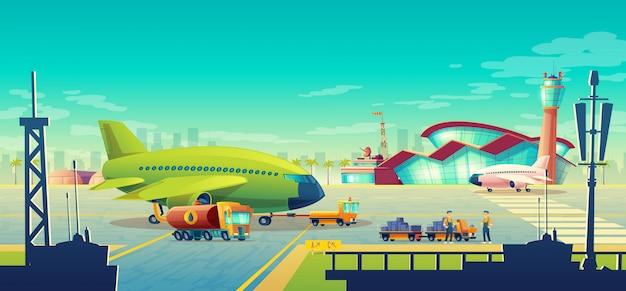 Paisagem do aeroporto Vetor grátis